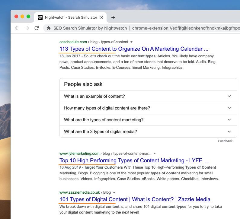 hightlight contoh judul dengan angka di serp