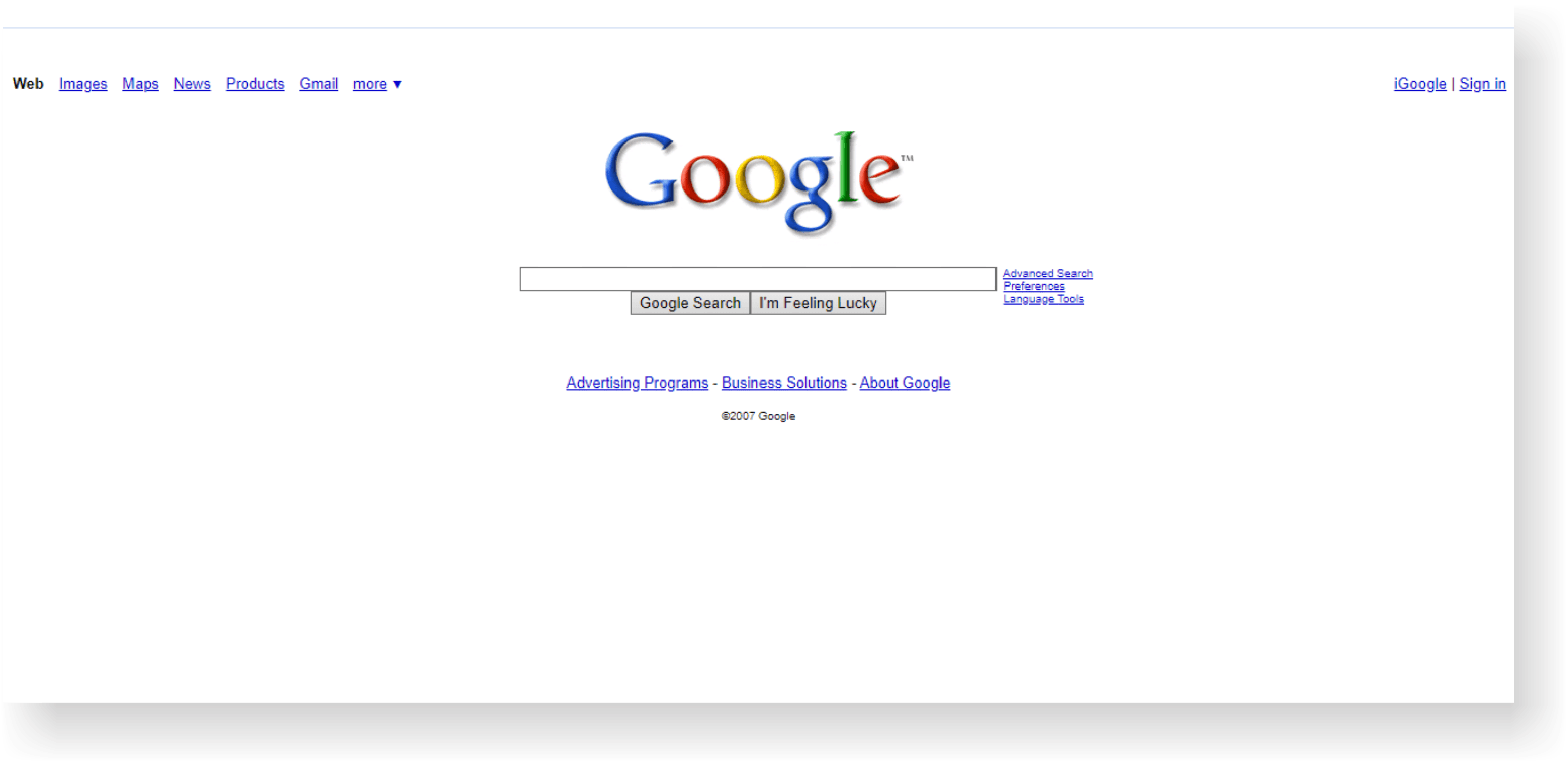 google site history on internet archive 2007