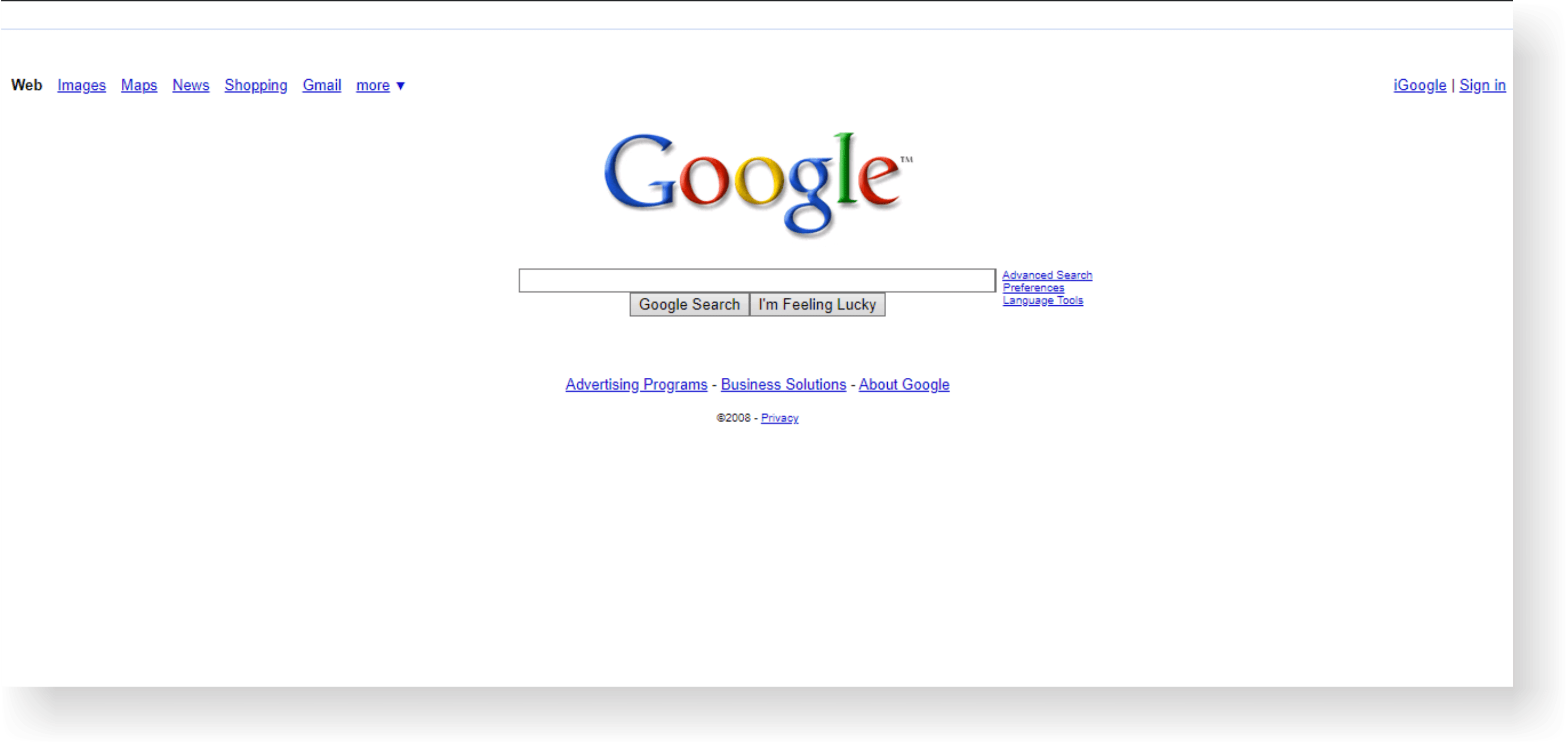 google site history from internet archive on 2008