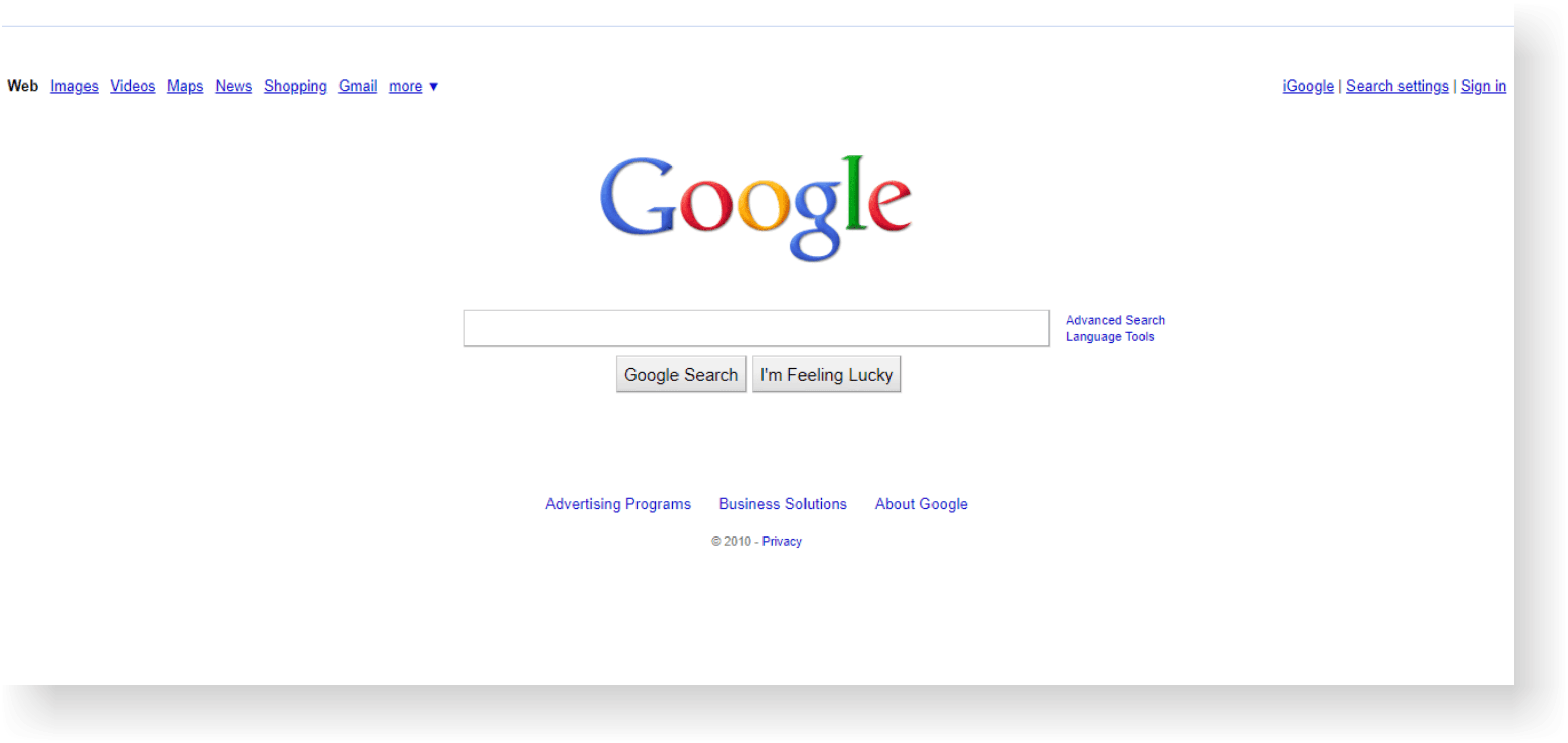 google site history from internet archive on 2010